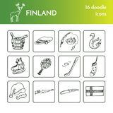 Hand drawn Finland travel set with icons Vector isolated illustration doodle sketch. Hand drawn Finland travel collection of icons Vector isolated illustration Stock Image