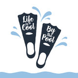 Hand drawn fins textured vector illustration. Hand drawn fins textured vector illustration and `Life is cool by the pool` lettering Stock Image