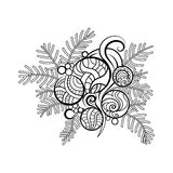Hand drawn fir branch. With Christmas toys Royalty Free Stock Photography