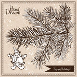 Hand drawn fir branch with snowman Royalty Free Stock Image