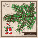 Hand drawn fir branch with snowman. Christmas decoration Royalty Free Stock Photos