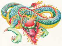 Hand drawn Fire Dragon. Original artwork inspired with traditional Chinese and Japanese dragon arts Stock Image