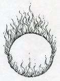 Hand drawn fire ring. Hand drawn fing burning with fire on paper background Stock Image