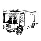 Hand drawn fire truck  on white. Black outline, Vecktor illustrated Royalty Free Stock Photo