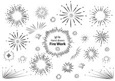 Hand drawn fire work element design.  Stock Photo