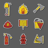 Hand drawn firefighter objects Stock Image