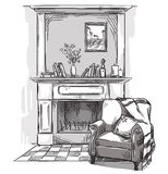 Hand drawn fireplace and an armchair. A cozy place at home. Royalty Free Stock Images