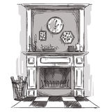 Hand drawn fireplace. A cozy place at home. Royalty Free Stock Images