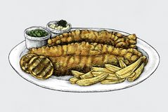 Hand drawn fish and chips Royalty Free Stock Photo
