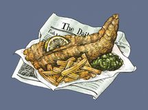 Hand drawn fish and chips Stock Photo