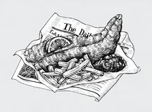 Hand drawn fish and chips Royalty Free Stock Photos
