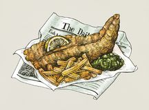 Hand drawn fish and chips. With lemon and sauce Royalty Free Stock Photography