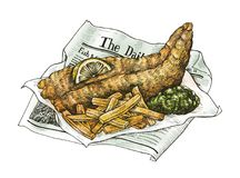 Hand drawn fish and chips. With lemon and sauce Stock Photography