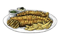 Hand drawn fish and chips. Vector Royalty Free Stock Photo