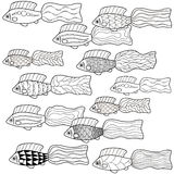 Hand-drawn fish. Coloring book for children. Vector. Hand-drawn fish. Coloring book for kids, black contour on white background. Vector Royalty Free Stock Photos
