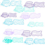 Hand-drawn fish. Coloring book for children. Vector. Hand-drawn fish. Coloring book for kids, contour on white background. Vector Stock Image