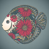 Hand drawn fish with floral elements. In black and white style Stock Image