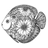 Hand drawn fish with floral elements. In black and white style Royalty Free Stock Photography