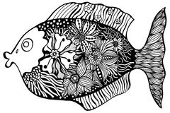 Hand drawn fish. With floral elements in black and white style Royalty Free Stock Images