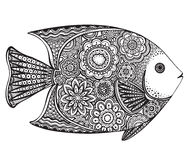 Hand drawn fish with floral elements. Hand drawn vector fish with floral elements in black and white doodle style. Pattern for coloring book Royalty Free Stock Photo
