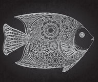 Hand drawn fish with floral elements. Hand drawn vector lace fish with floral elements in black and white doodle style on grunge background Stock Images