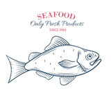 Hand drawn fish icon. Stock Photo