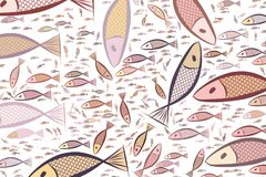 Hand drawn fish illustrations background, good for graphic design. Digital, repeat, details & sketch. Hand drawn fish illustrations background, good for graphic Royalty Free Stock Photography