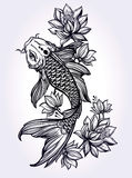Hand drawn fish Koi carp with flowers. Stock Photos