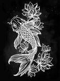 Hand drawn fish Koi carp with flowers. Stock Images