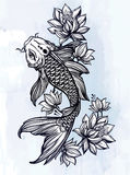Hand drawn fish Koi carp with flowers. Royalty Free Stock Image