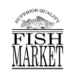 Hand drawn fish market sign or newspaper ad layout. Fish market vector sign or newspaper ad layout with hand drawn vintage fish and classy frame design Royalty Free Stock Photo