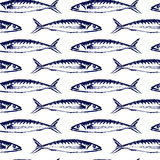 Hand drawn fish pattern. Vector seamless pattern with hand drawn fish made with chalk. Grunge drawing, graphic style. Perfect print for any business related to Royalty Free Stock Photos