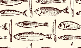 Hand drawn fish pattern. Vector seamless pattern with hand drawn fish species and kitchen knives made with chalk. Grunge drawing, graphic style. Perfect print Stock Photo