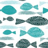 Fish seamless pattern. Various turquoise fish with stripes ans dots. Vector illustration on white background. Hand drawn Fish seamless pattern. Various turquoise stock illustration