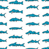 Hand drawn fish species with lettering. Tuna, salmon, herring fishes Royalty Free Stock Image