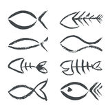 Hand drawn fish symbols Royalty Free Stock Photo