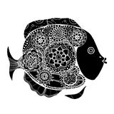 Hand drawn fish. Hand drawn vector fish with floral elements in black and white doodle style. Pattern for coloring book Stock Photo
