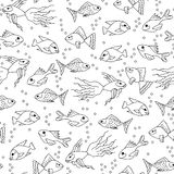Hand drawn Fish in water seamless pattern for adult coloring  Royalty Free Stock Images