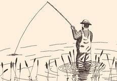 Hand drawn fisherman stock photo