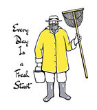 Hand drawn fisherman Royalty Free Stock Images