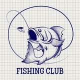 Hand drawn fishing club logo Stock Images
