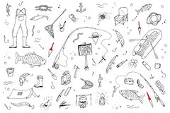 Hand drawn fishing set.Fishing stuff in doodle style. Vector illustration Royalty Free Stock Photo