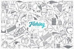 Hand drawn fishing shop set with lettering Stock Photos