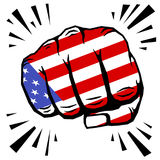 Hand drawn fist - american flag fist on white background Stock Photos
