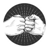 Hand drawn fist bump. Vector illustration of a dynamic fist bump in a hand drawn vintage style Stock Image