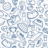 Hand drawn fitness doodle seamless pattern. Outlines on squared Stock Images