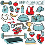 Hand drawn fitness doodle set. Vector illustrations Royalty Free Stock Images