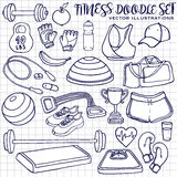 Hand drawn fitness doodle set. Vector illustrations Royalty Free Stock Image
