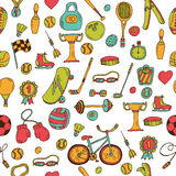 Hand drawn fitness, sport seamless pattern. Doodle icons in sket Stock Images