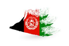 Hand drawn flag of Afghanistan. Brush painted illustration with a grunge effect stock illustration